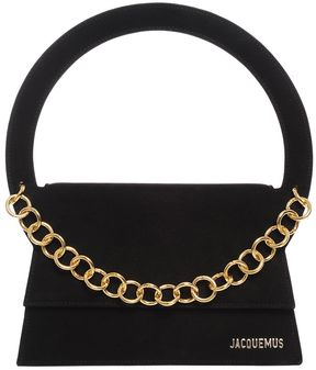 Suede Shoulder Bag W/ Chain Detail