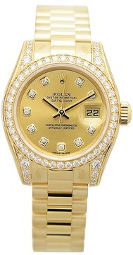 Rolex Lady-Datejust 26 Champagne Dial 18K Yellow Gold President Automatic Ladies Watch