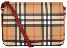 Burberry Leather Check Wallet Bag