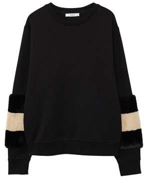MANGO Fur sleeves sweatshirt
