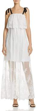 Aqua Ruffled Embroidered Maxi Dress - 100% Exclusive