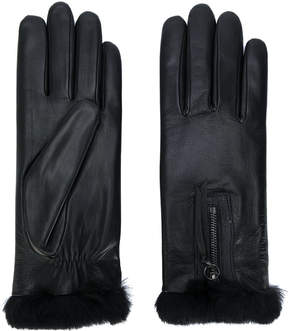 Agnelle rabbit fur trimmed gloves