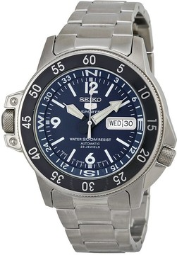 Seiko 5 Automatic Compass Dark Blue Dial Stainless Steel Men's Watch