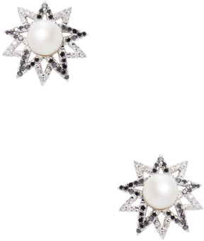 Artisan Women's 18K White Gold, 0.85 Total Ct. Diamond & Pearl Star Stud Earrings