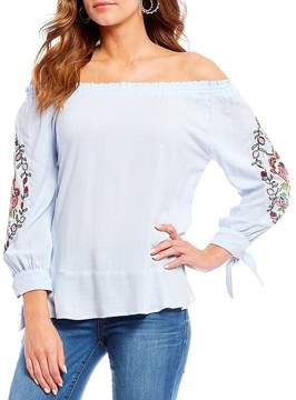 Democracy Off-The-Shoulder Embroidered Tie Sleeve Top