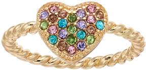 Lauren Conrad Rainbow Simulated Crystal Heart Ring