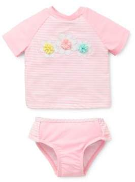 Little Me Baby Girl's Two-Piece Rash Guard and Swim Bottom Set