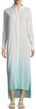 Letarte Button-Front Long Ombre Beach Shirtdress