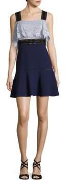 ABS by Allen Schwartz Lace & Crepe Fit-&-Flare Dress
