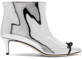 Marco De Vincenzo Bow-embellished Pvc-trimmed Mirrored Faux Leather Ankle Boots - Silver