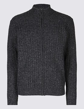 Marks and Spencer Wool Blend Cable Zipped Through Cardigan