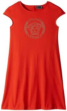 Versace Kids Cap Sleeve Dress with Medusa Logo Girl's Dress