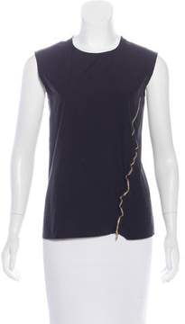 Celine Zipper-Trimmed Sleeveless Top