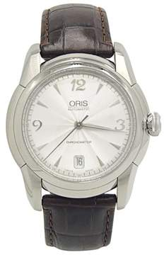 Oris Artelier Date 7544 Stainless Steel on Brown Alligator Strap Silver Dial 40.5mm Mens Watch