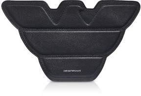 Emporio Armani Black Genuine Leather Eagle Shoulder Bag