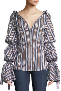 Caroline Constas Margaret Striped Balloon-Sleeve Shirt