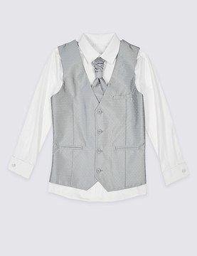 Marks and Spencer 3 Piece Waistcoat, Shirt & Cravat Outfit (3-14 Years)