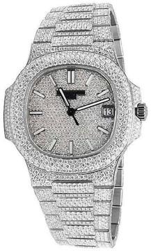 Patek Philippe Patek Phillipe Nautilus 5711/1A Steel Pave Set 26.5ct Diamond Mens Watch