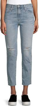 AG Adriano Goldschmied Women's Isabelle Distressed Straight Cropped Jeans - Blue, Size 26 (2-4)