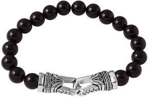 JCPenney FINE JEWELRY Mens Black Agate Bead and Stainless Steel Bracelet