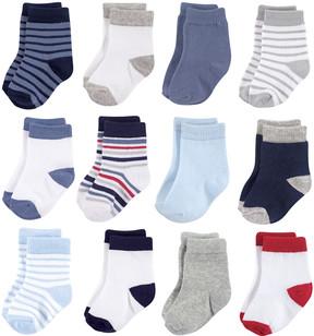 Hudson Baby Blue & White 12-Pair Basic Crew Socks Set - Infant