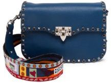 VALENTINO GARAVANI Rockstud Rolling Pop Art Strap Leather Shoulder Bag