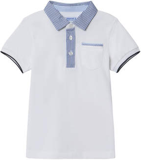 Mayoral White Stripe Trim Polo