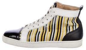 Christian Louboutin Patent Leather High-Top Sneakers