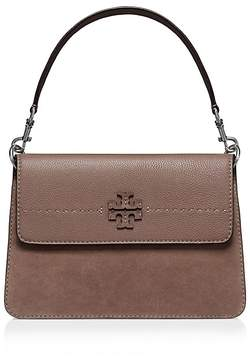 Tory Burch McGraw Leather & Suede Shoulder Bag - SILVER MAPLE/SILVER - STYLE