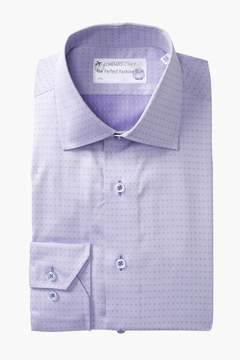 Lorenzo Uomo Diamond Pattern Trim Fit Dress Shirt