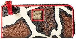 Dooney & Bourke Serengeti Zip Clutch Clutch Handbags - GIRAFFE/RED TRIM - STYLE