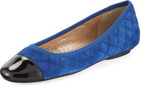 Neiman Marcus Saucy Quilted Suede Flat, Jordan Blue