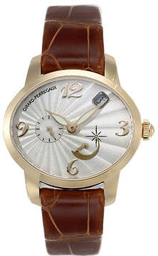 Girard Perregaux Cats Eye 18kt Yellow Gold Brown Leather Ladies Watch