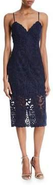 Bardot Gia Sleeveless Damask-Lace Sheath Cocktail Dress