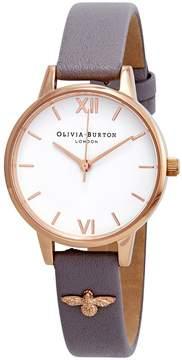 Olivia Burton 3D Bee Embellished Strap White Dial Ladies Watch