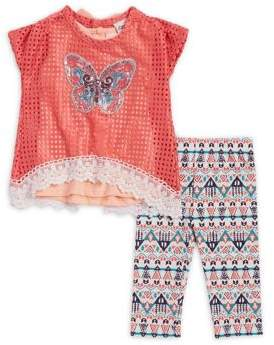 Little Lass Baby Girl's Three-Piece Coral Top, Tank, and Capri Set