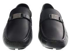 Roberto Cavalli Black Leather Loafers Man Leather Shoes.