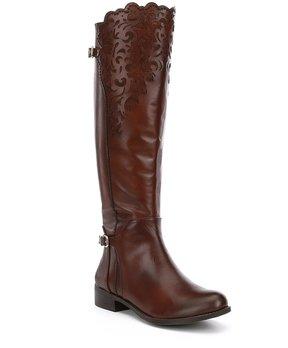 Gianni Bini Shayne Lasercut Leather Block Heel Riding Boots