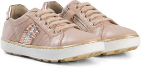 Stuart Weitzman Nude Pink Side Embellished Lace Up and Zip Trainer with Metallic Back