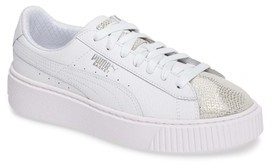 Puma Girl's Basket Glitz Platform Sneaker