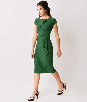 Stop Staring 1940s Style Green Fitted Timeless Wiggle Dress
