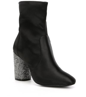 Donna Karan Alley Satin Glitter Heel Dress Booties