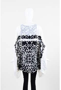 Saint Laurent Pre-owned ¿ White Black Silk Floral Printed Oblong Scarf Shawl Wrap.