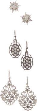 Carole Three-Pair Silvertone Openwork Drop Earrings Set