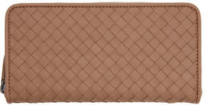 Bottega Veneta Pink Intrecciato Continental Zip Around Wallet