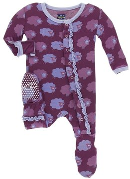 Kickee Pants Baby Girl's Sheep Muffin Ruffle Footie