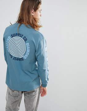 Diamond Supply Co. Long Sleeve T-Shirt With Worldwide Back Print in Blue