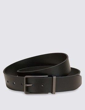 Marks and Spencer Leather Gunmetal Rectangular Buckle Belt