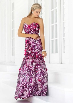 Blush Lingerie Strapless Floral Sequined Trumpet Gown 9336