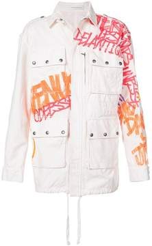 Faith Connexion graffiti print military jacket